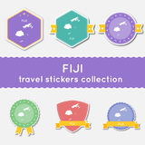 Fiji travel stickers collection. Royalty Free Stock Photos
