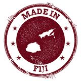 Fiji vector seal. Vintage country map stamp. Grunge rubber stamp with Made in Fiji text and map, vector illustration Royalty Free Stock Images