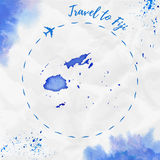 Fiji watercolor map in blue colors. Travel to Fiji poster with airplane trace and handpainted watercolor Fiji map on crumpled paper. Vector illustration Royalty Free Stock Photography