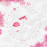 Fiji watercolor map in red colors. Visit Fiji poster with airplane trace and handpainted watercolor Fiji map on crumpled paper. Vector illustration Royalty Free Stock Photo
