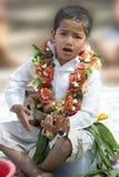 Fijian Boy plays the guitar Royalty Free Stock Photo