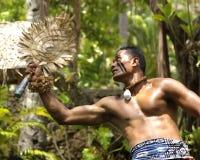 Fijian Dancer. Oahu, Hawaii - A Fijian dancer performs at the Polynesian Cultural Center Royalty Free Stock Image
