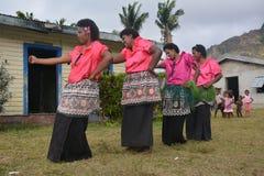 Fijian dancing women. A group og Fijian dancing women as part of a fokloristic show in their village Royalty Free Stock Photos