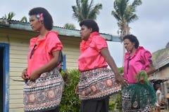 Fijian dancing women. A group og Fijian dancing women as part of a folkloristic  show in their village Stock Photography