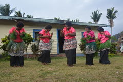 Fijian dancing women. A group of Fijian dancing women as part of a folkloristic  show in their village Royalty Free Stock Image