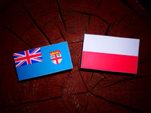 Fijian flag with Polish flag on a tree stump isolated. Fijian flag with Polish flag on a tree stump royalty free illustration