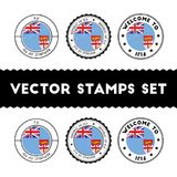 Fijian flag rubber stamps set. National flags grunge stamps. Country round badges collection Royalty Free Stock Photo