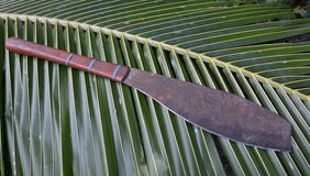 Fijian machete with wooden handle Stock Photo