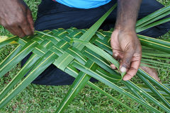 Fijian men create a basket from weaving a Coconut Palm leaves Royalty Free Stock Photo