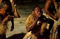 Fijian men dancing a traditional male dance meke wesi in Fiji Royalty Free Stock Photography