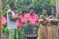 Fijian native dancers. A performance of native Fijian dancers in a village located on one of the islands of the Yasawa group Stock Photography