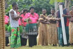 Fijian native dancers. A performance of native Fijian dancers in a village located on one of the islands of the Yasawa group Stock Images
