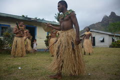 Fijian native dancers Royalty Free Stock Images