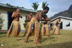 Fijian native dancers. A performance of native Fijian dancers in a village located on one of the islands of the Yasawa group Royalty Free Stock Image