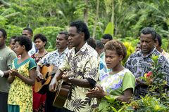 Fijian people, villagers of small Island Somosomo, singing for visitors Stock Photo