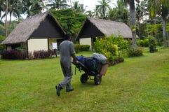Fijian resort porter in Fiji Stock Photo