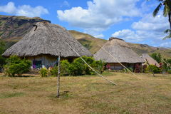 Fijian traditionally built houses Stock Photos