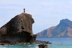 Fijian wojownik wita przyjazd Yasawa ulotka, Yasawa wyspy, Fiji zdjęcia stock