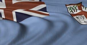 Fijiansk flagga som fladdrar i ljus bris Arkivfoto