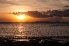 Fijiansk solnedgång Arkivfoto