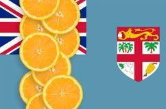 Fijiansk vertikal rad för flagga- och citrusfruktskivor arkivbilder