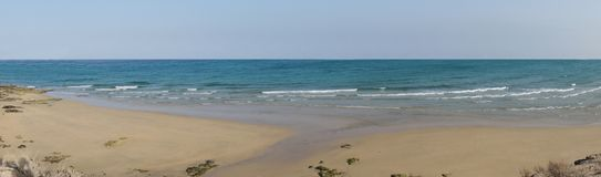 Fijn zandig strand dicht bij Costa Calma Stock Foto's