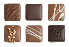 Fijne geïsoleerde chocolade Stock Foto's