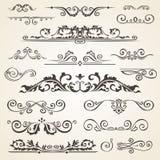 Fijne lijnreeks ontwerpelementen die op lichte achtergrond worden geïsoleerd De vectorinzameling van het kaderelement Boekverdele royalty-vrije illustratie