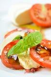Fijne salade van tomaat en mozarella Royalty-vrije Stock Fotografie