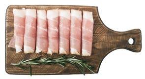 Fijne vleeswaren op hout Rustieke hamprosciutto Stock Afbeelding