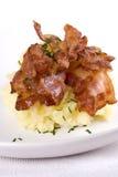 Fijngestampt Aardappel en Bacon stock fotografie