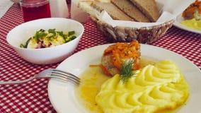 Fijngestampte aardappels en koteletten stock afbeelding