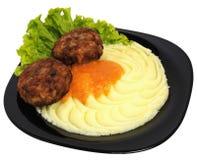 Fijngestampte aardappels met vleesballetjes Royalty-vrije Stock Afbeelding