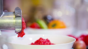 Fijnhakkende Machine in Actie met Verse Tomaten stock videobeelden