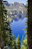 Fikcyjny statek, krateru Jeziorny park narodowy, Oregon, Stany Zjednoczone Fotografia Royalty Free