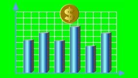 Fiktive Goldmünze des amerikanischen Dollars, die innerhalb des Diagramms sich bewegt Finanzierung, Börse, Bankwesen, Wirtschaft, stock abbildung