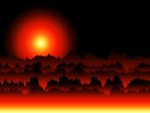 Fiktive Sonnenaufgang-Landschaft Stockfoto