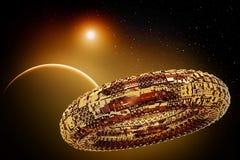 Fiktives Universum mit Raumschiff stock abbildung