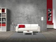 Fiktivt vardagsrum med den vita sofaen Royaltyfri Fotografi