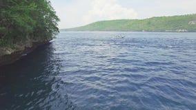Filón Indonesia 4k aéreo de la bahía de los turistas del barco que bucea almacen de video