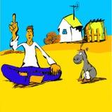 Filósofo com desenhos animados de um asno Imagem de Stock