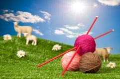Fil à tricoter avec des moutons Photo libre de droits