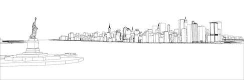 Fil-cadre New York City, style de modèle Illustration Libre de Droits