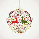 Fil d'annata di progettazione EPS10 della bagattella degli elementi di Natale Immagine Stock Libera da Diritti