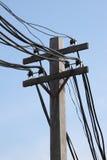 Fil dur sur le pôle électrique Photographie stock libre de droits