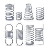 Fil flexible en spirale Ressorts de compression, de tension et de torsion Pièces résilientes réglées de fil en métal Différents t illustration de vecteur