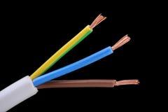 fil jumeau électrique de la terre de noyau de câble Photographie stock libre de droits