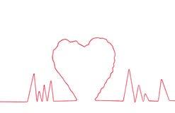 Fil rouge dans la forme de signe de coeur Photographie stock libre de droits