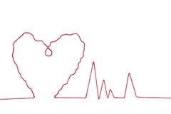 Fil rouge dans la forme de signe de coeur Image libre de droits