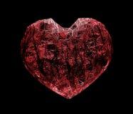 fil rouge de coeur, trellis de plexus, réaliste tridimensionnel sur le fond noir illustration 3D photographie stock